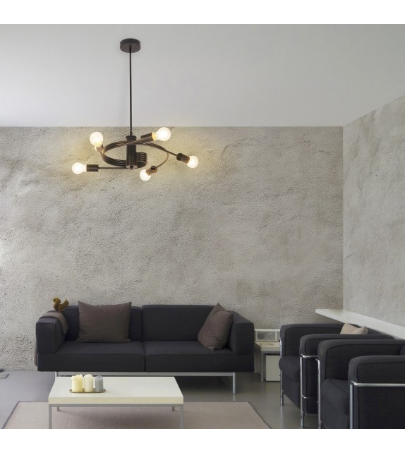 Lustra Carly - 2098 Rabalux, E27, 5x15W, negru mat