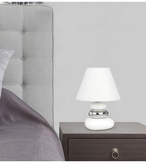 Veioza moderna SALEM 4949 Rabalux, E14 40W, ceramic-textil, argintiu-alb