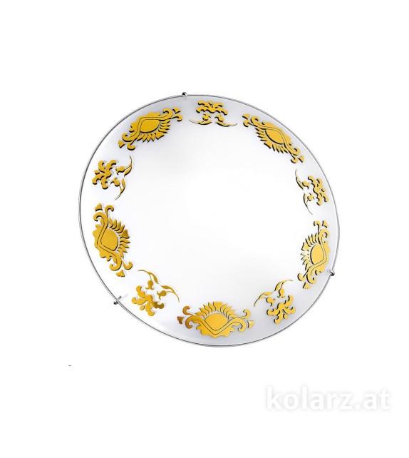 Plafoniera FLOREAL, Kolarz Glass, D30, E27, 2x60W, sticla alba, aur 24k