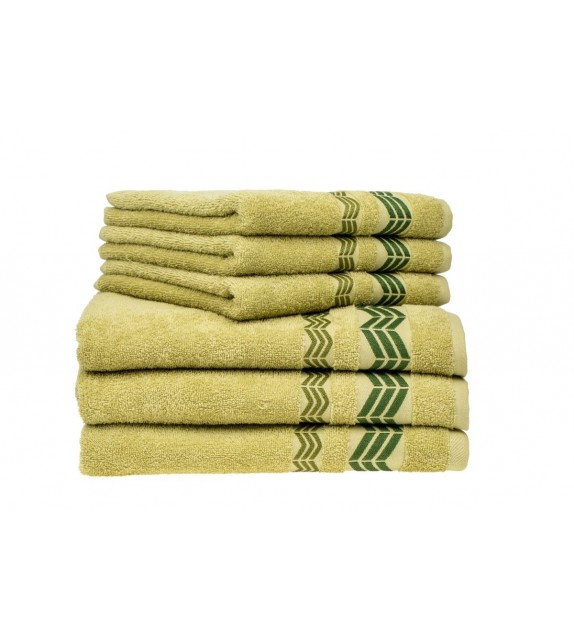 Prosop baie bumbac, pachet 6 bucati, Mendola Wellness, 50x90, 400g/mp, verde