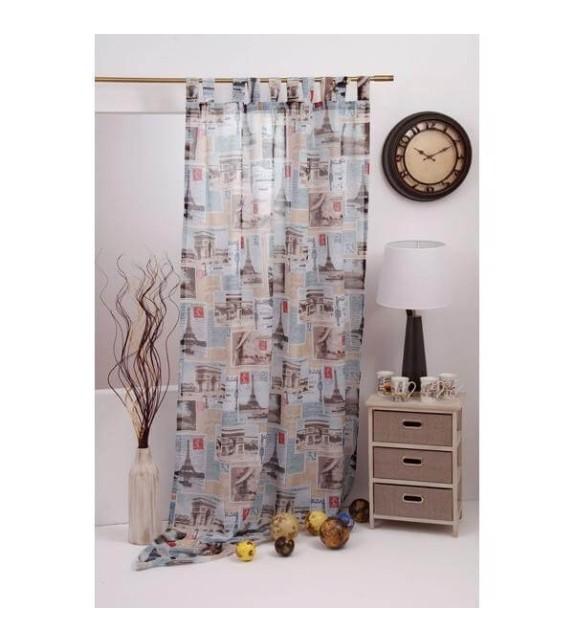 Perdea Europe Mendola Home Textiles, 140x245cm cu bride, albastru-maro