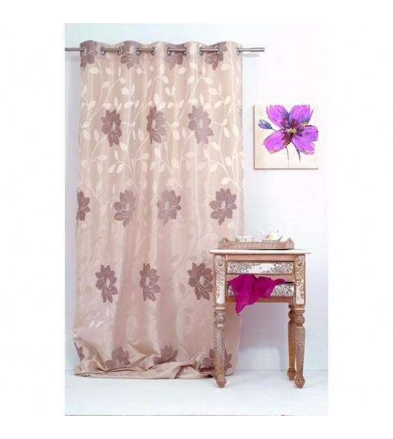 Draperie Maura Mendola Home Textiles, 140x245cm cu inele, bej