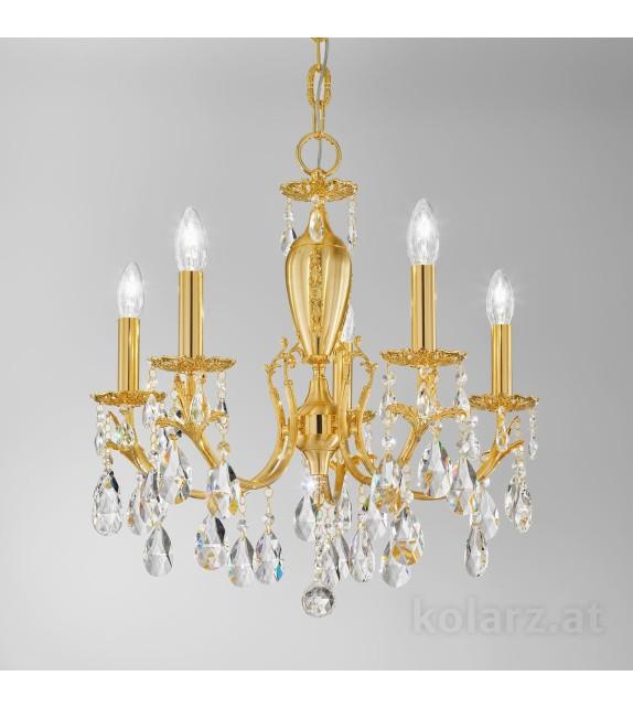Candelabru Victoria 2, placat cu aur de 24 de carate, 5 brate cu cristale