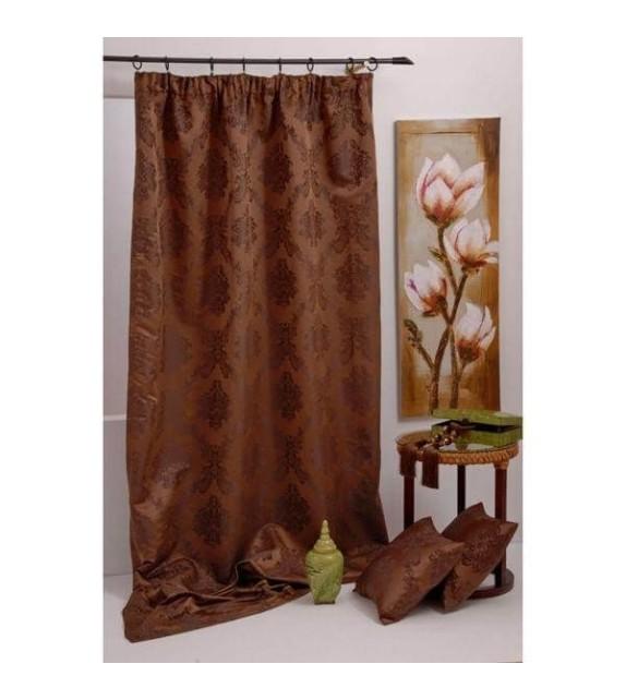 Draperie cu flori Trendy Mendola Home Textiles, 140x245cm cu rejansa, maro