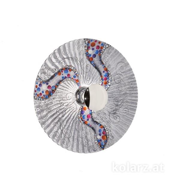 Aplica de perete Luna - Kolarz, Ø54, dekor Kiss, argint, crom