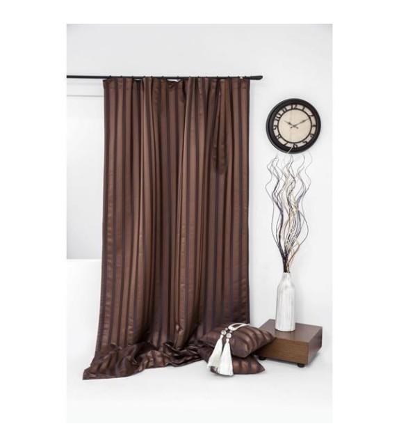 Draperie cu dungi Trendy Mendola Home Textiles, 140x245cm cu rejansa, maro
