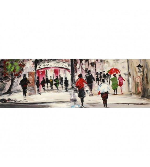 Tablou pictat manual Street Life A, 50x150cm