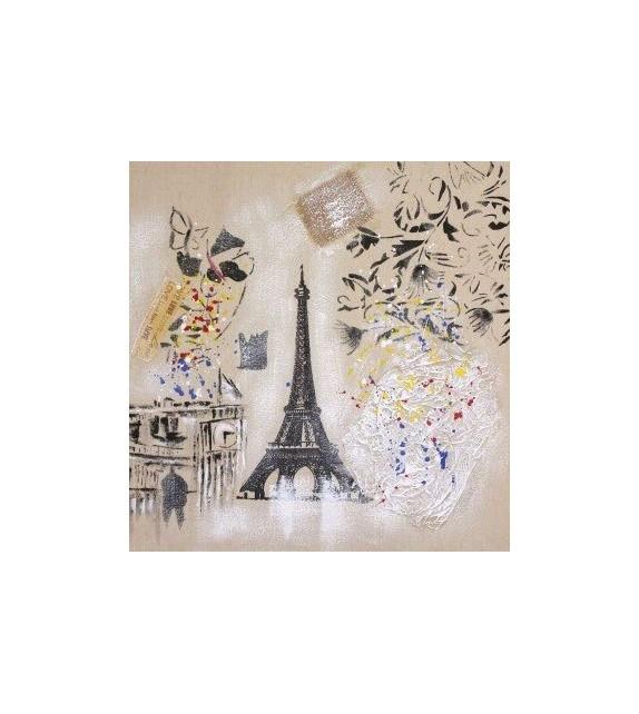 Tablou pictat manual Paris, dimensiunea 60x60cm