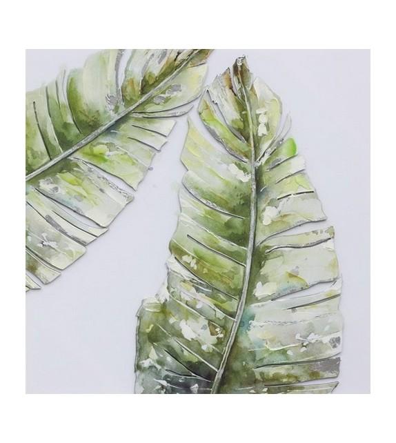 Tablou pictat manual Green Duet, dimensiunea 40x40cm
