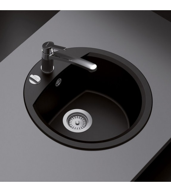 Chiuveta bucatarie granit SCHOCK Manhattan R-100 Nero, Cristalite, nuanta negru