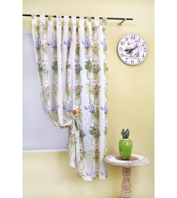 Draperie Cassia Mendola Home Textiles, 140x160cm, cu bride, crem