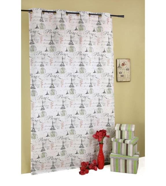 Draperie Tour Mendola Home Textiles, 140x245cm, cu inele, gri-verde