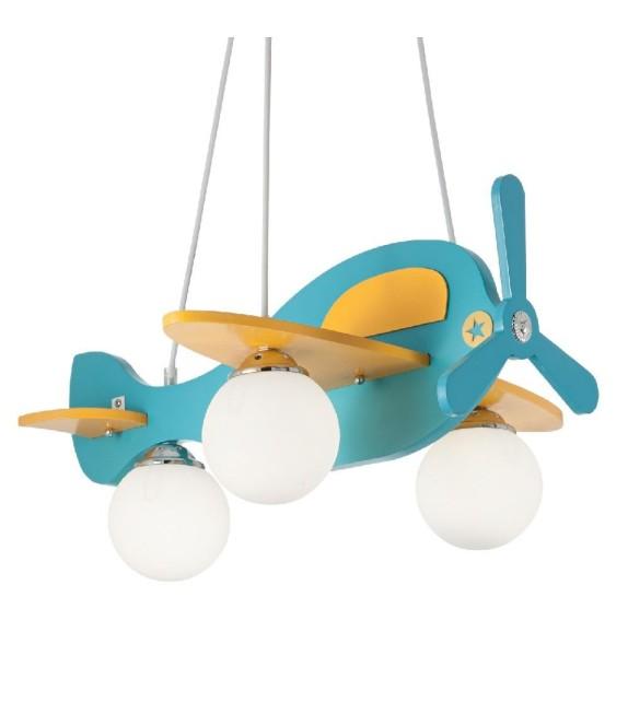 Lustra copii AVION-1 SP3 136325 Ideal Lux, albastru-galben