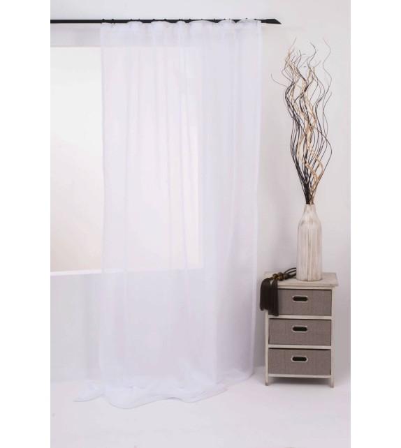Perdea Vicenza Mendola Home Textiles, 140x245cm, cu rejansa, alb