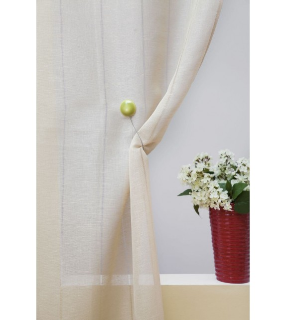 Perdea bucatarie Mendola Home Textiles, 65x190cm, set 2 bucati, cu bride