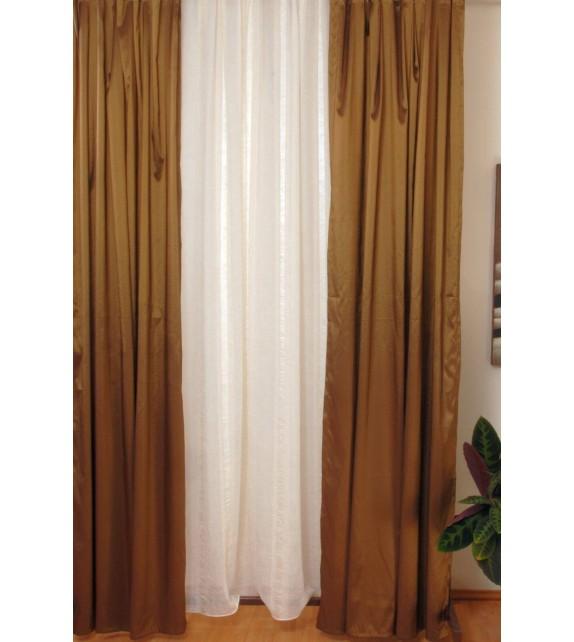 Perdea Lugano Crush Mendola Home Textiles, 140x245cm, cu rejansa, bej