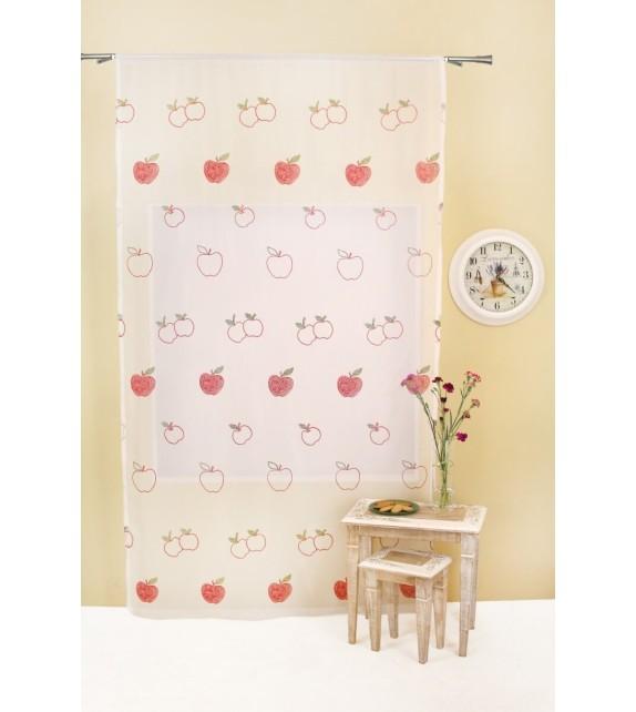 Perdea Apfel Mendola Home Textiles, 140x245cm, cu rejansa, rosu-vede
