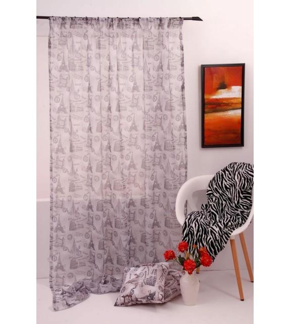 Perdea City Home Textiles, 140x245cm, cu rejansa, gri