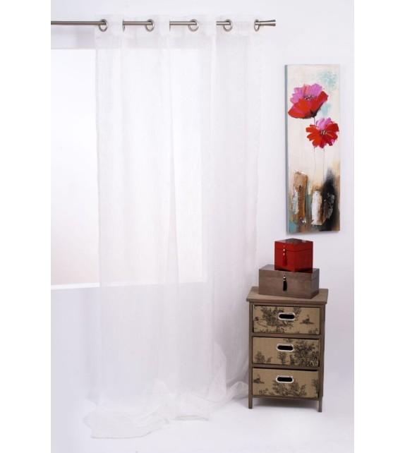 Perdea Pacific Mendola Home Textiles, 140x245cm, cu inele, alb