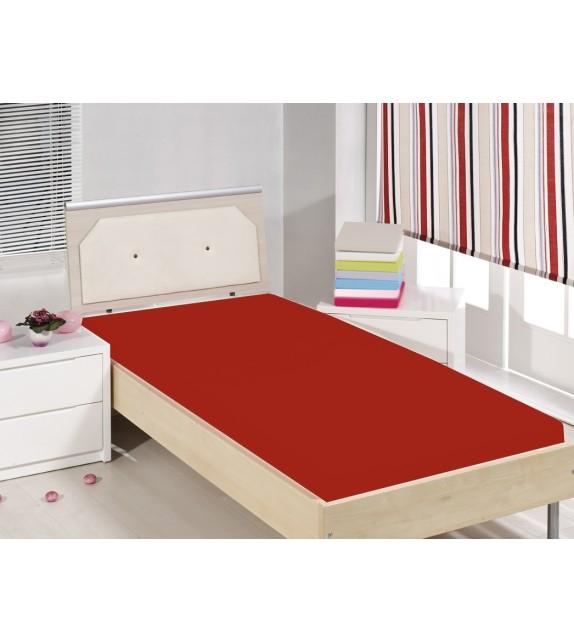 Cearceaf de pat cu elastic Mendola bedding, bumbac 100%, 90x200cm, rosu