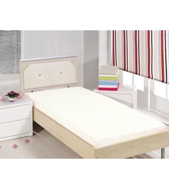 Cearceaf de pat cu elastic Mendola bedding, bumbac 100%, 90x200cm, crem