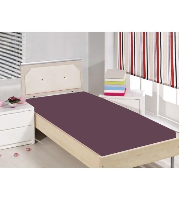 Cearceaf de pat cu elastic Mendola bedding, bumbac 100%, 90x200cm, mov
