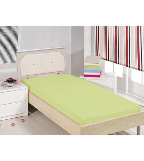 Cearceaf de pat cu elastic Mendola bedding, bumbac 100%, 90x200cm, verde
