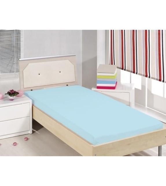 Cearceaf de pat cu elastic Mendola bedding, bumbac 100%, 90x200cm, albastru