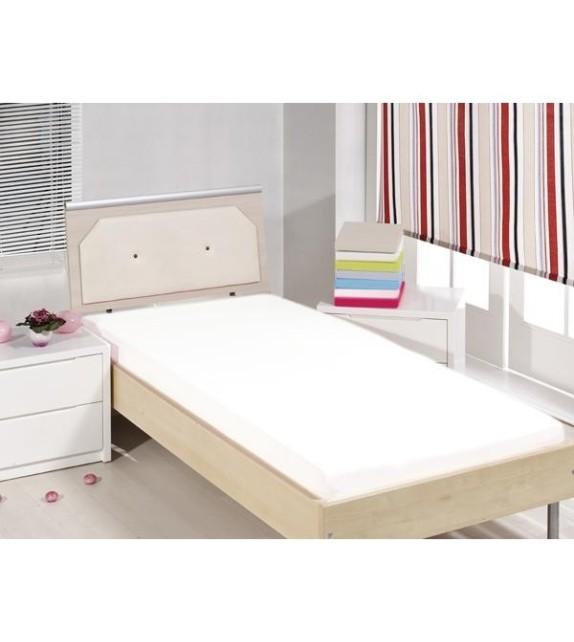 Cearceaf de pat cu elastic Mendola bedding, bumbac 100%, 90x200cm, alb