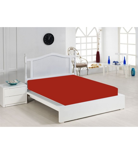 Cearceaf de pat rosu Mendola, 140x200cm, bumbac 100%, cu elastic