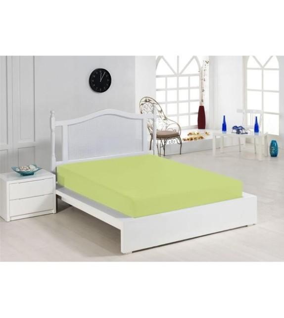 Cearceaf de pat verde Mendola, 140x200cm, bumbac 100%, cu elastic