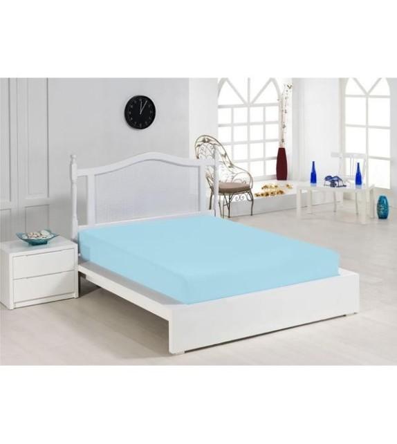 Cearceaf de pat albastru Mendola, 140x200cm, bumbac 100%, cu elastic