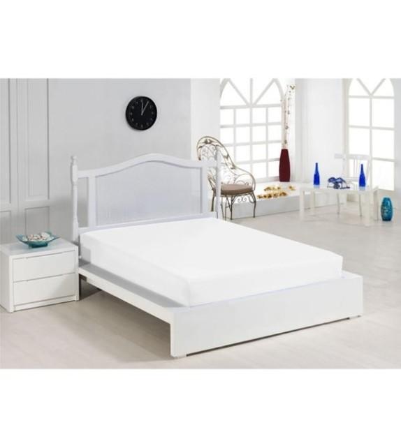 Cearceaf de pat alb Mendola, 140x200cm, bumbac 100%, cu elastic