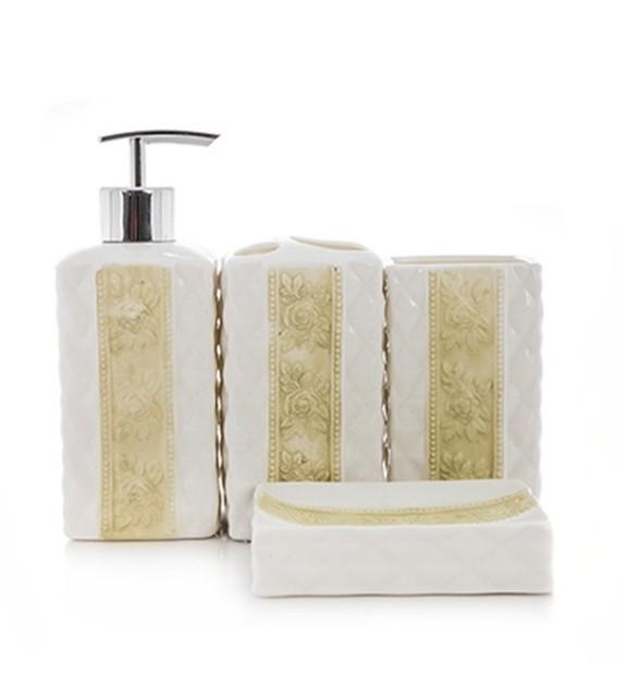 Set de baie, ceramica 4 piese, alb