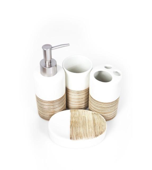 Set de baie, ceramica 4 piese, alb cu striatii maro