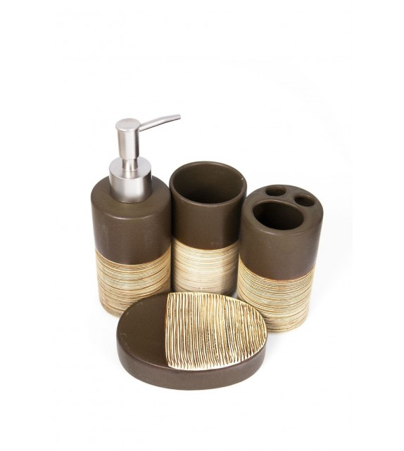 Set de baie, ceramica 4 piese, maro cu striatii bej