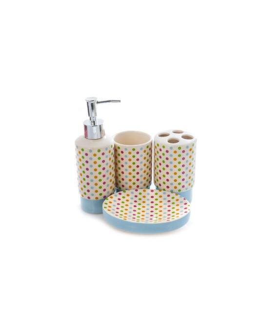 Set de baie, ceramica 4 piese, alb-albastru deschis cu buline