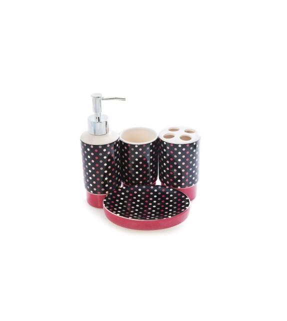 Set de baie, ceramica 4 piese, mov-roz cu buline