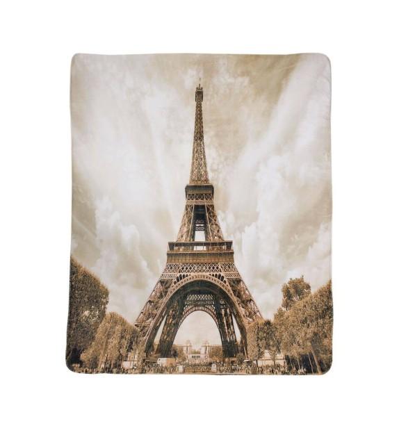 Patura decorativa flanela decor Paris, 150x200cm, crem-maro