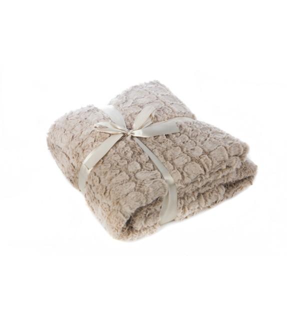 Patura decorativa imitatie blana Mendola Home Textiles, 150x200cm, maro