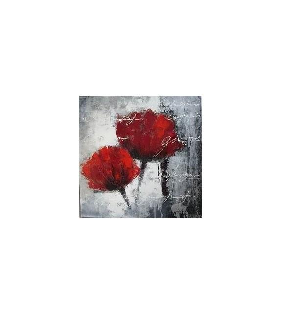 Tablou pictat manual Flori rosii, dimensiunea 40x40cm