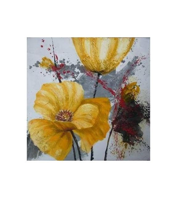 Tablou pictat manual Crizanteme galbene, dimensiunea 40x40cm