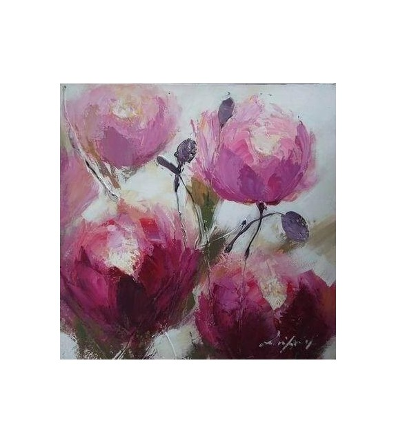 Tablou pictat manual Trandafiri, dimensiunea 60x60cm