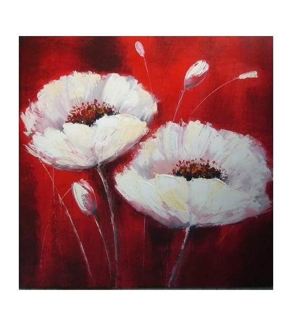 Tablou pictat manual Flori de Mac albe, dimensiunea 60x60cm