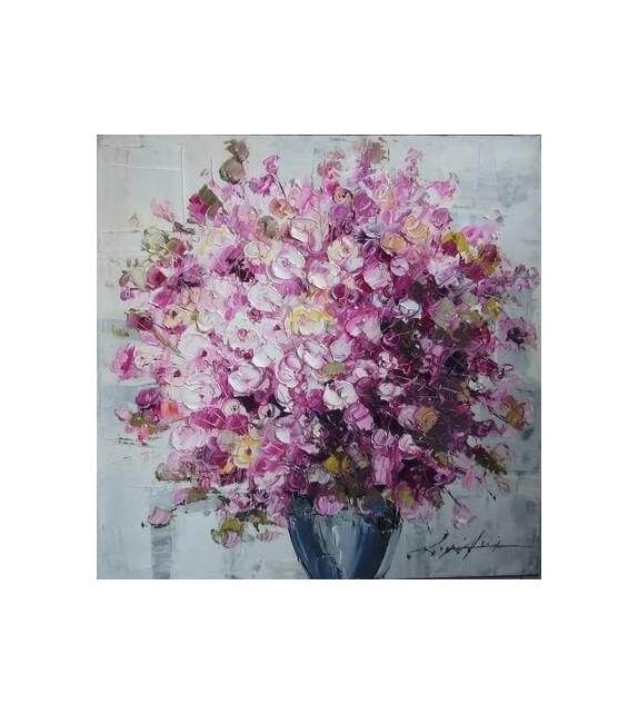 Tablou pictat manual Geranium roz, dimensiunea 60x60cm