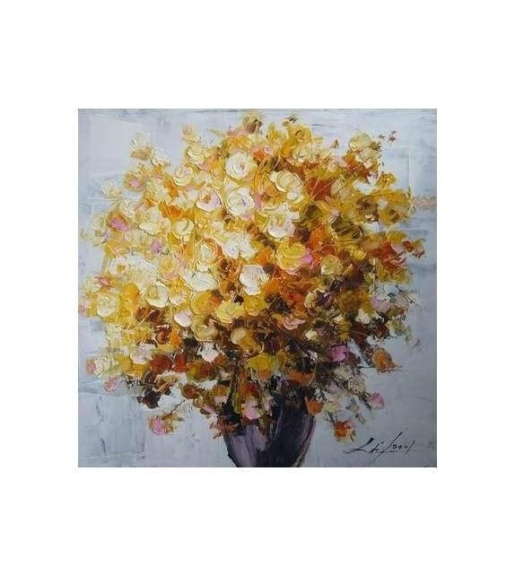 Tablou pictat manual Geranium galben, dimensiunea 60x60cm