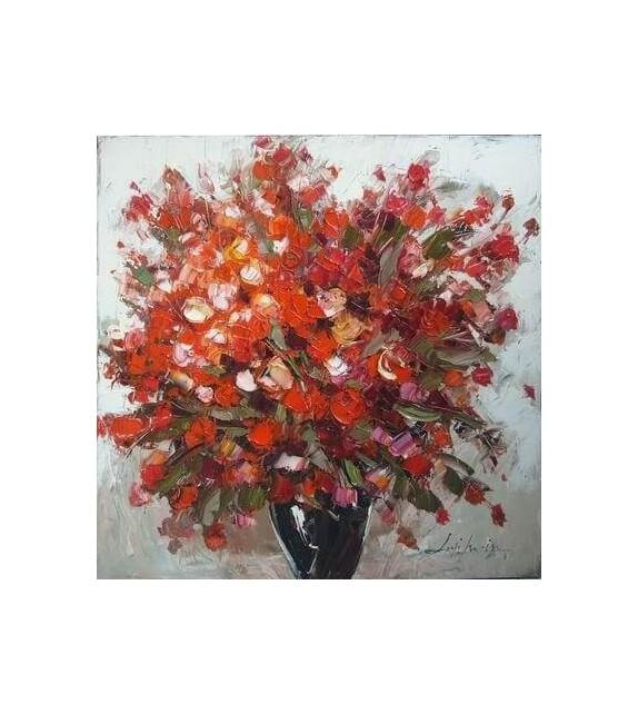Tablou pictat manual Geranium rosu, dimensiunea 60x60cm