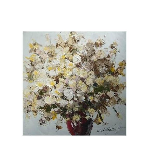 Tablou pictat manual Geranium alb, dimensiunea 60x60cm
