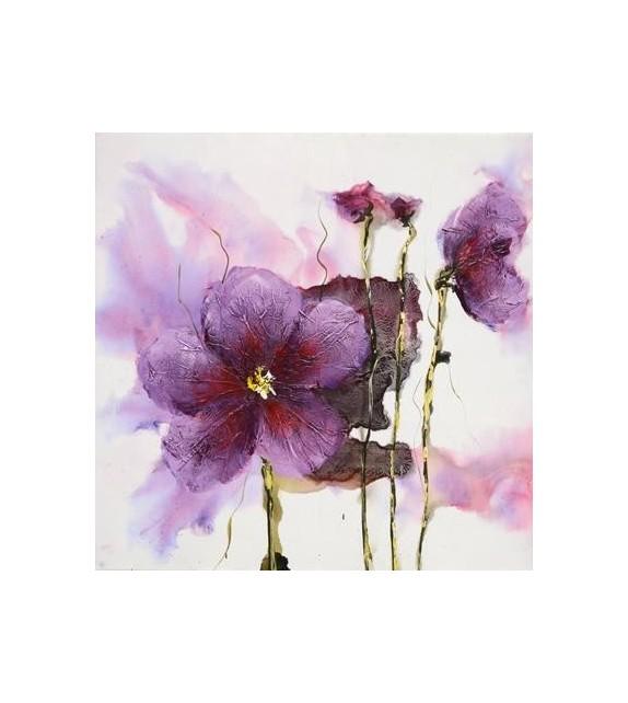 Tablou pictat manual Lilies pink, dimensiunea 60x60cm