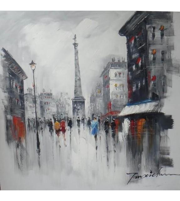 Tablou pictat manual Parisian way, dimensiunea 80x80cm